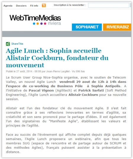 Agilité Sophia Alistair Cockburn agilitech